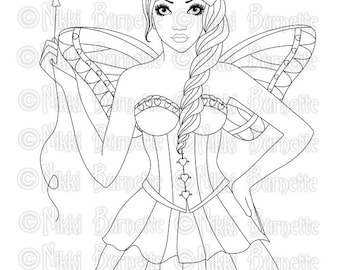 Digital Stamp - Printable Coloring Page - Fantasy Art - Fairy Stamp - Adult Coloring Page - Lacy - by Nikki Burnette - PERSONAL USE