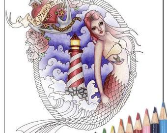 Digital Stamp - Printable Coloring Page - Fantasy Art - Mermaid Stamp - Mina - by Nikki Burnette - PERSONAL USE