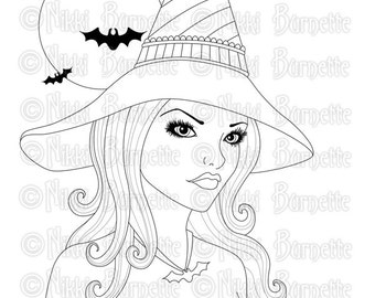 Digital Stamp - Printable Coloring Page - Fantasy Art - Witch Stamp - Adult Coloring Page - Liz - by Nikki Burnette - PERSONAL USE