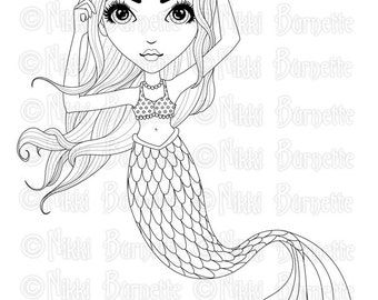 Digital Stamp - Printable Coloring Page - Fantasy Art - Mermaid Stamp - Adult Coloring Page - Chrissy - by Nikki Burnette - PERSONAL USE