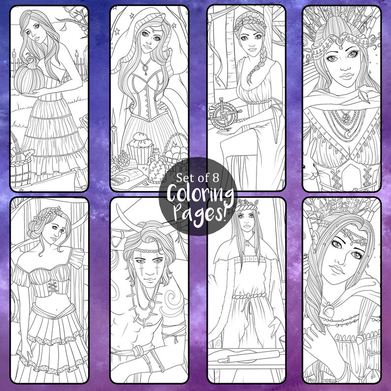 image relating to Printable Wiccan Coloring Pages known as Witch Coloring Website page Mounted - 8 Webpages - Printable PDF - Wiccan Sabbats - Vacations - Samhain Yule Imbolc Ostara Beltane Litha Mabon Lammas