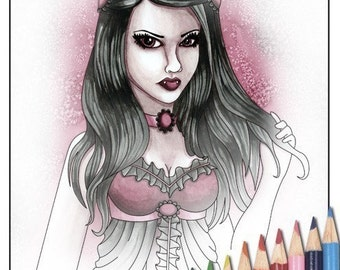 Digital Stamp - Printable Coloring Page - Fantasy Art - Vampire Stamp - Cassandra - by Nikki Burnette - PERSONAL USE