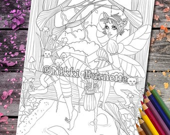 Coloring Page - Digital Stamp - Printable - Fantasy Art - Fairy Cat Woodland - Stamp - Adult Coloring Page - MAGGIE - by Nikki Burnette