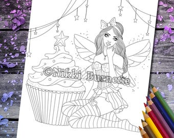 Coloring Page - Digital Stamp - Printable - Fantasy Art - Cupcake Fairy - Stars - Stamp - Adult Coloring Page - CALLIE- by Nikki Burnette