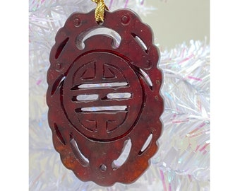 Christmas Ornament, Chinese Carved Medallion, Brown Nephrite