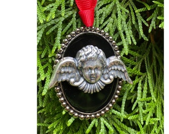 Angel Christmas Ornament   Handmade Silver and Black Enamel