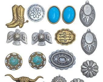 Western Conchos, Western Findings, Western charms, Turquoise, Antique Silver Concho, Antique Gold Concho, Indian Head, Arrows