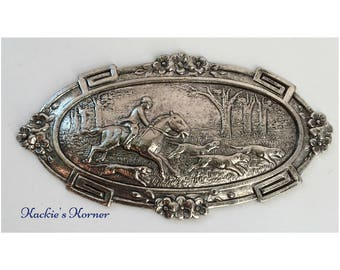 equestrian Horse Shoe Medallion embellishment made in USA finding silver
