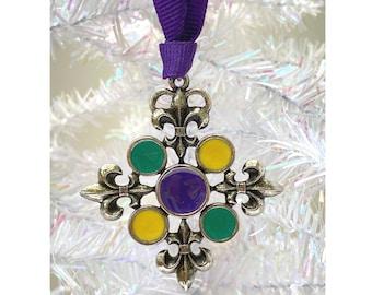 Mardi Gras Fleur de Lis Christmas Ornament