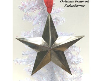 Larger silver star Christmas Ornament,  Mid-Century Modern Star Ornament, Christmas Star ornament, Christmas gift