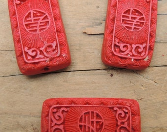 Red Cinnabar Type Bead, Carved Resin, Set of three