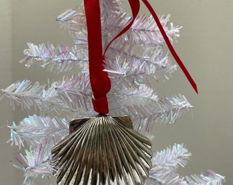 Silver Sea Shell Christmas Ornament