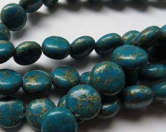 10mm Smooth Gold Matrix Turquoise Coin Beads - Full Strand