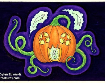 Jack-o-Lantern Haunted House with Ghost Mice - Feeping Creatures Monster Art by Dylan Edwards