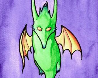 Feeping Creatures monster art - Horned Shrewbat