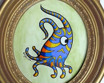 Feeping Creatures monster art - Striped Tentacle Monster