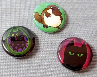 Feeping Creatures monster buttons - set of three 1-inch pinback buttons