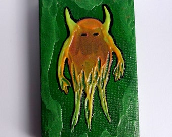 Feeping Creatures monster art - Glow-in-the-Dark Fire Demon acrylic mini painting