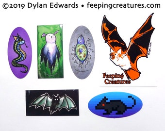 Vinyl stickers - cats, ghosts, cat snakes, rats - set of 6 - Feeping Creatures monster art