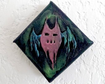 Feeping Creatures monster art - Glow-in-the-Dark Flying Ghost Demon acrylic mini painting