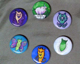 Feeping Creatures monster buttons - set of six 1-inch pinback buttons