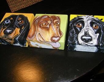 Set of Three Custom Pet Portrait Paintings 6x6