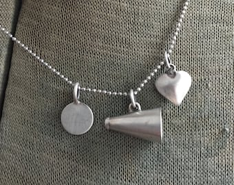 """Vintage Sterling Megaphone Cheerleader Personalized Cheer Charm Puffy Heart Necklace 16"""" Chain Drill Team"""