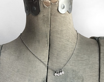 Initial Necklace Personalized Two Itsy Bitsy Little Sterling Silver Paddle Tags Hand Stamped Dot Charms x o