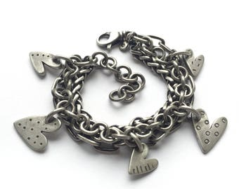 Sterling Silver Hand Cut Heart Charm Bracelet Vintage Multichain Recycled Silver Adjustable Wheat Oblong Cable Chain