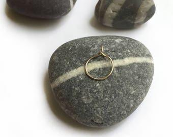 14K Gold Tiny Hoop Pierced Earring Single