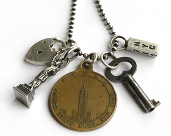New York City Statue Liberty NYC Empire State Building Vintage Tag Heart Lock 212 Key Charm Sterling Silver Long Charm Necklace