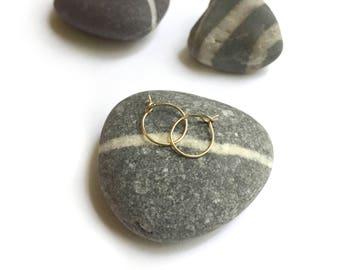 14K Gold Tiny Hoops Pierced Earrings Pair