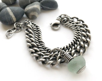 Vintage Sterling Silver Double Curb Chain Bracelet English Aqua Seaglass Charm Recycled Upcycled Adjustable Size Swivel Clasp
