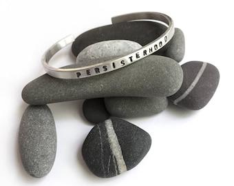 PERSISTERHOOD Stamped Sterling Silver Cuff Bracelet Small Medium or Large