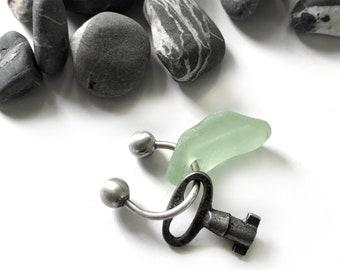 Seaglass Beach Glass Sterling Silver Horseshoe Key Ring Unusual Vintage Key