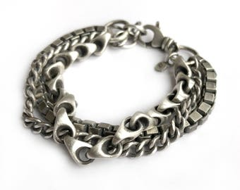 Sterling Silver Triple Vintage Chain Multi Chain Box Chain Curb Chain Bracelet Recycled Silver Heavy Adjustable One of a Kind Swivel Clasp