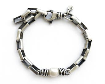 Sterling Silver Box Chain With Pearl Bracelet Swivel Clasp Adjustable