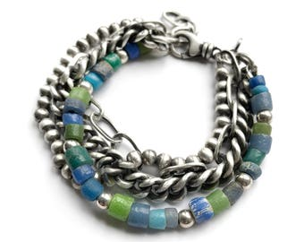 Ancient Roman Djenne Glass Beads Blue Green Sterling Silver Curb Cable Chain Multichain Bracelet Adjustable Size Swivel Clasp Arm Party