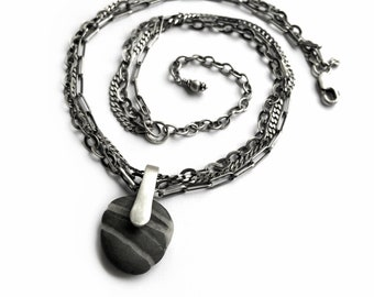 Beach Stone Necklace Sterling Wishing Stone Triple Chain Kinetic Adjustable