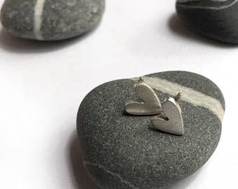 Funky Sterling Silver Heart Pierced Post Stud Earrings Hand Cut Recycled Silver Upcycled Recycled