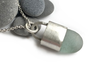 Large Authentic Seaglass Bezel Set Sterling Silver Necklace 30 Inch Cable Chain Aqua Frosty Unisex