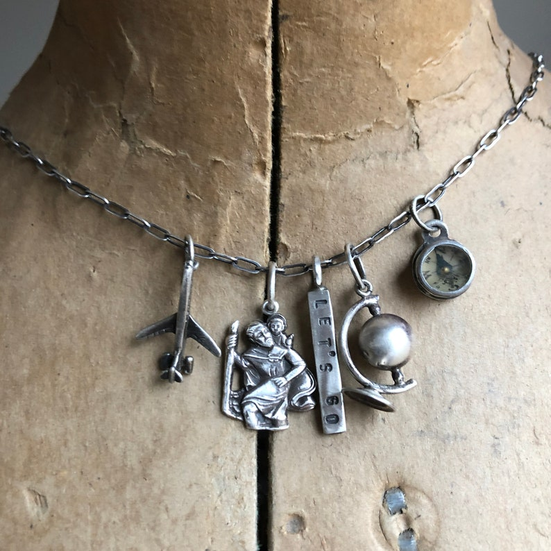 Vintage Antique Globe Airplane Compass Let/'s Go Travel St.Christopher Wanderlust Long Charm Necklace Sterling Silver
