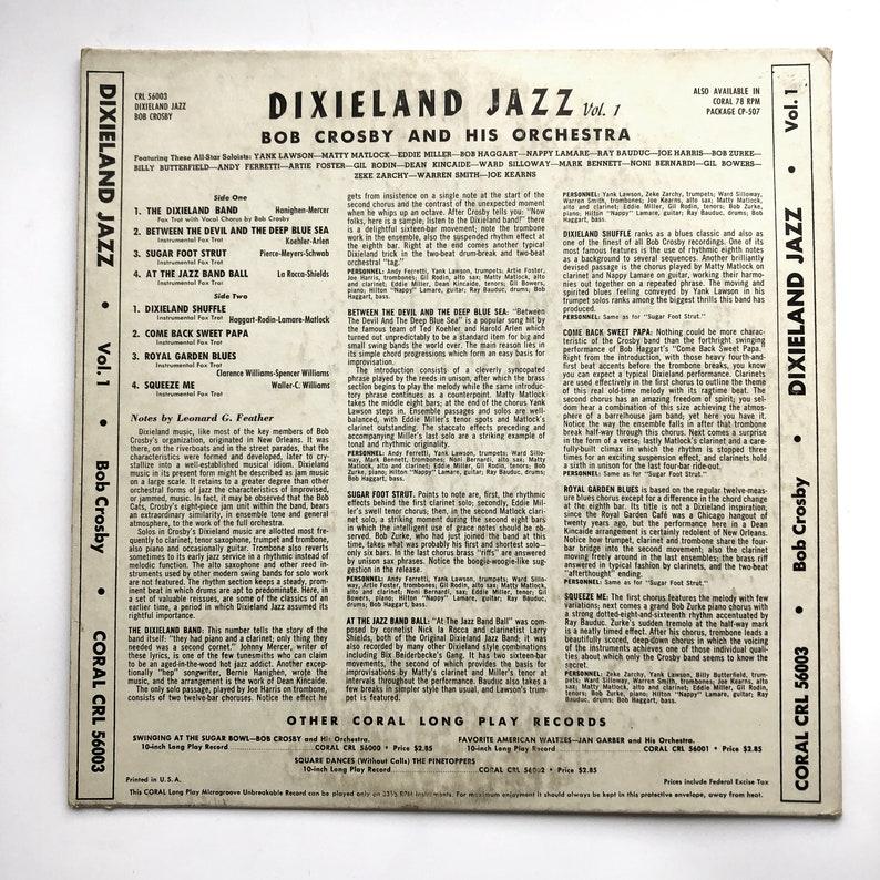 Bob Crosby And His Orchestra CRL 56003 Dixieland Jazz Vol  1 Vinyl Vintage  Record LP 10