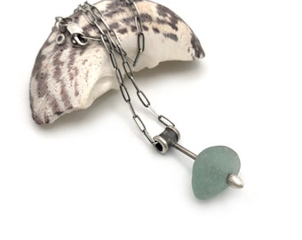 Sterling Silver Aqua Chunky Frosty Authentic Seaglass Necklace Select Chain length
