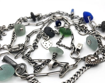 Long Sterling Silver Seaglass Multichain Wrap Necklace Bracelet Eclectic Beach African Trade Beads Key Heart Charm Many The Miles