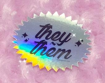 Holographic They/Them Die Cut Vinyl Sticker