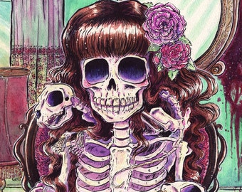 Skeleton Cat Lady with Three Cat Skeletons Poster Print 4X6 or 11x14