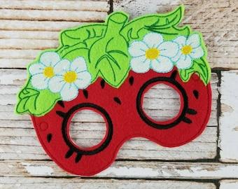Strawberry Mask - Strawberry felt mask for  , Halloween, Dress-up Play, Strawberry Halloween Mask, Strawberry Halloween