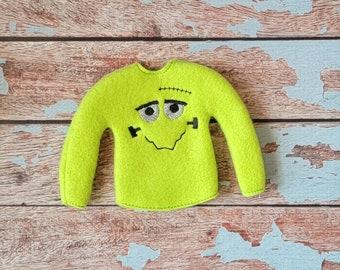 Elf Clothes - Frankenstein Sweater, Halloween Sweater, Elf Halloween, Elf clothes, Christmas Elf, Scout Elf, Original Elf or Plush Elf