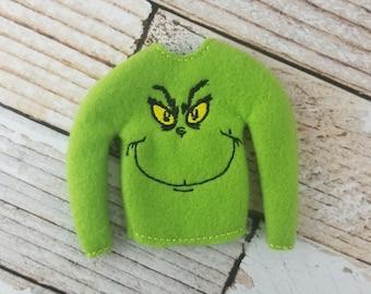 Elf Clothes - Mean One Sweater, Elf Sweater, Elf clothes, Christmas Elf,  Scout Elf, Original Elf or Plush Elf